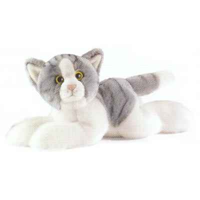 Anima - Peluche chat couche gris 30 cm -1952