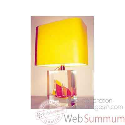 Moyenne Lampe Rectangle Chaloupe Rouge & Jaune Abat-jour Rectangle Jaune-129