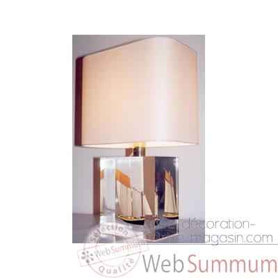 Petite Lampe Rectangle Lougre Noir Abat-jour Rectangle Beige-109