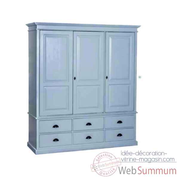 Armoire 3 portes + 6 tiroirs Antic Line -CD555