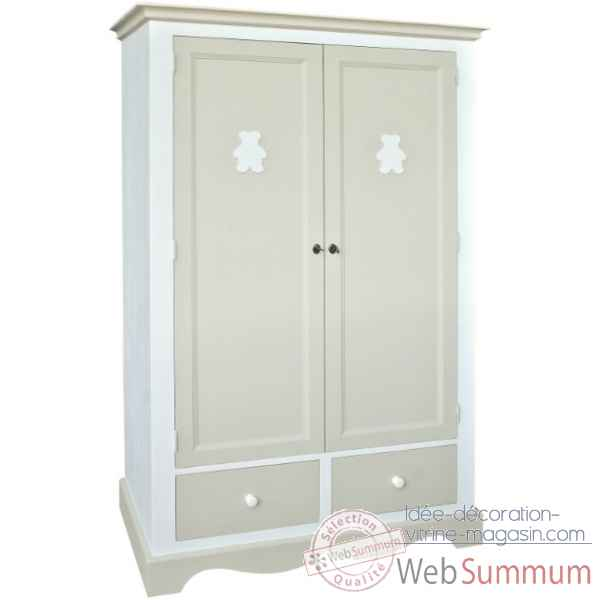 "Armoire 2 portes + 2 tiroirs ""decor ourson\"" (boutons bois) Antic Line -CD429"