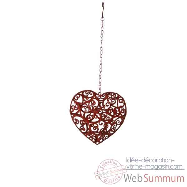 Coeur decoratif rouge antique Antic Line -SEB13878