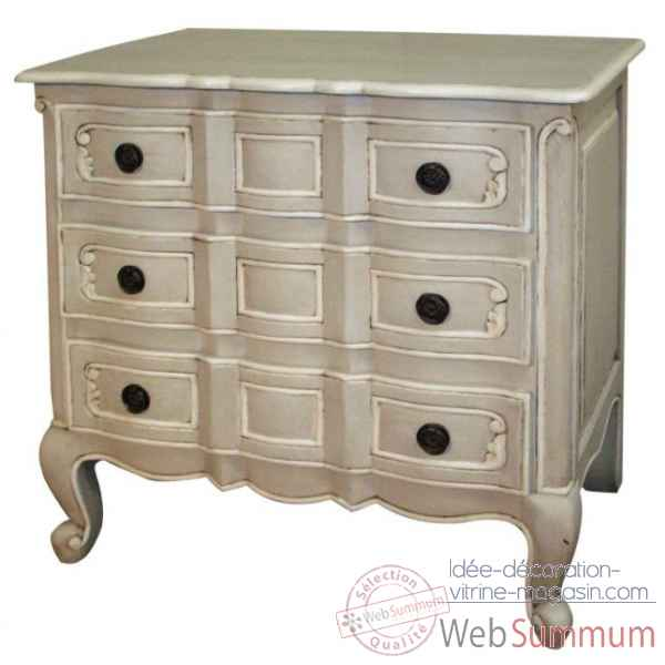 "Commode 3 tiroirs ""provence\"" patine Antic Line -CD229"