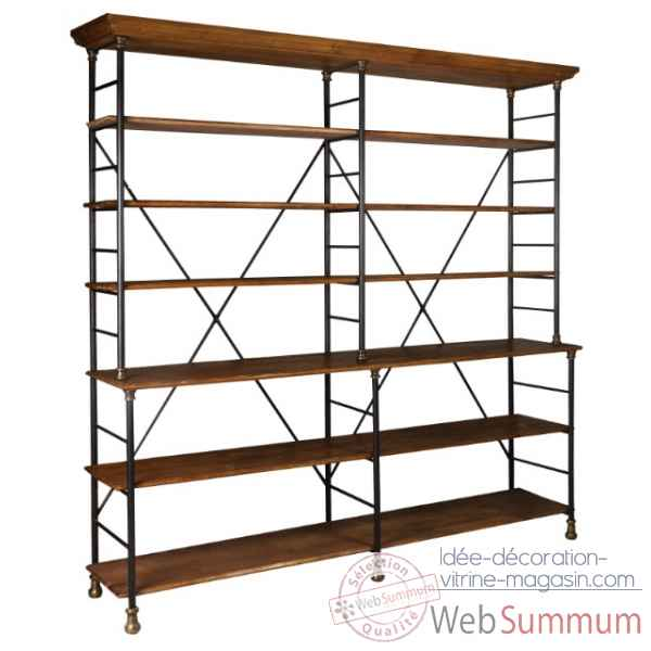 Double etagere fer et bois cire antique Antic Line -CD388