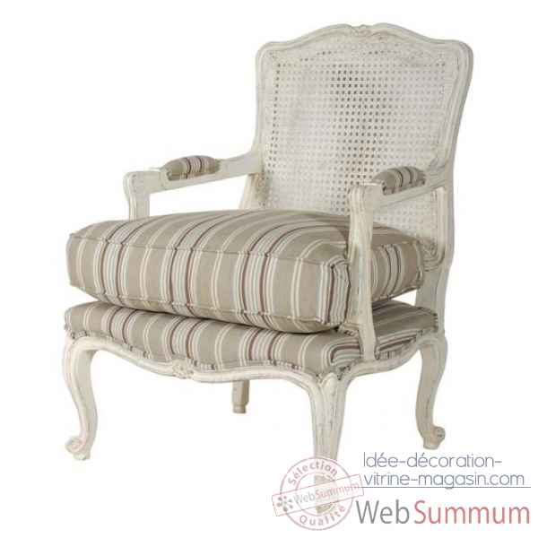 Fauteuil bergere canne textile a rayures - blanc patine Antic Line -CD200
