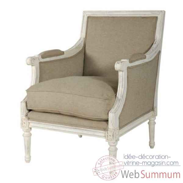 "Fauteuil bergere ""marquise\"" textile lin - blanc patine Antic Line -CD199"