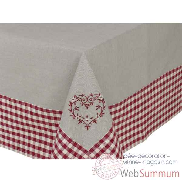 "Nappe 160 x 160 ""collection campagne coeur\"" Antic Line -SEB12589"