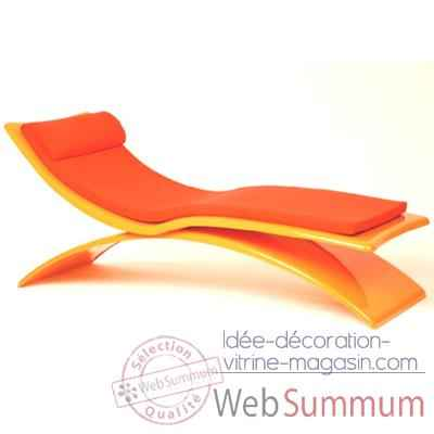 Chaise longue design Vagance orange matelas orange Art Mely - AM03