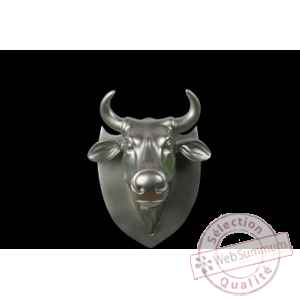 Figurine Trophee vache cowhead silver 25cm Art in the City 80998