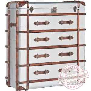 Commode dakota en finition aluminium whisky 4 tiroirs arteinmotion -cas-dak0031