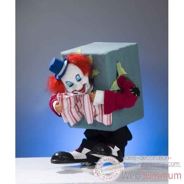 Automate - clown coince dans un carton Automate Decoration Noel 653