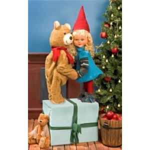 Automate - fille pere noel et teddy bear Automate Decoration Noel 268