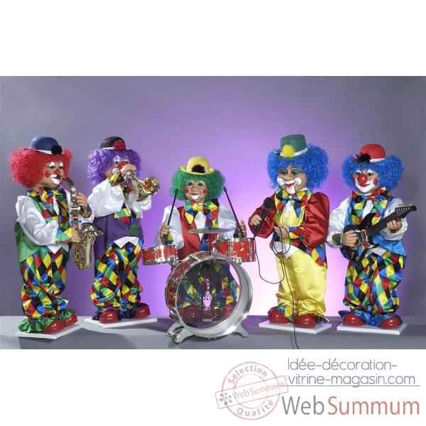 Automate - orchestre de clowns (5 personnages) Automate Decoration Noel 885-B