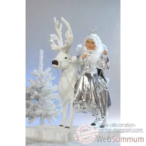 Automate , reine des neiges sur un renne blanc Automate Decoration Noel 678