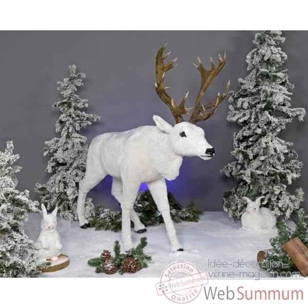 Automate renne blanc automate d coration no l 814 dans - Idee decoration creche noel ...