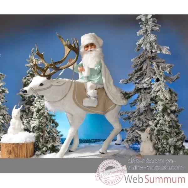 Pere Noel Avec Animaux Renne Blanc Avec Pere-noel