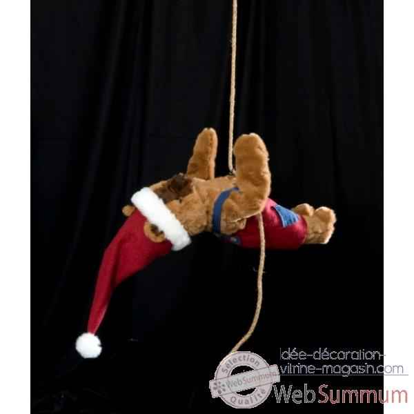 Automate - teddy bear suspendu a deux mains Automate Decoration Noel 203-D