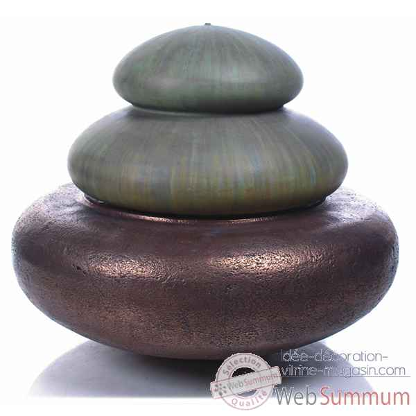 Fontaine-Modele Two Tier Heian Fountain, surface bronze avec vert-de-gris-bs3331vb