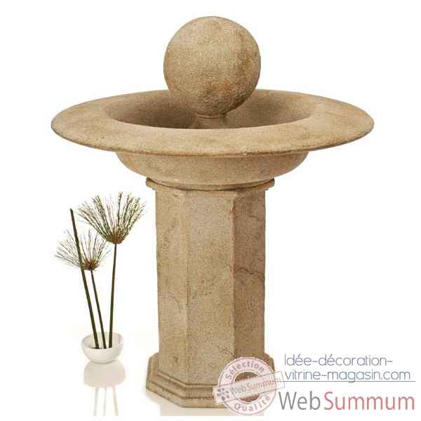 Fontaine-Modele Carva Ball Fountain on Octagonal Pedestal, surface marbre vieilli-bs4066ww
