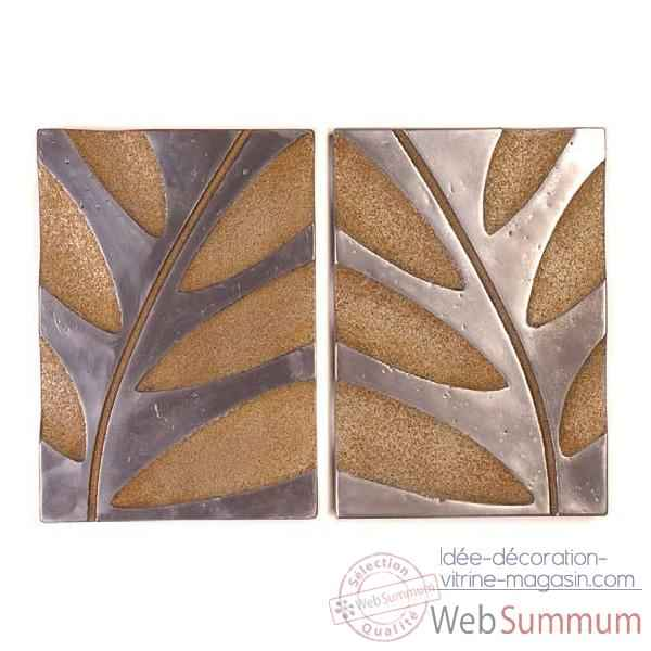 Decoration murale Foliage Wall Decor S -2, aluminium et rouille -bs4133alu -rst