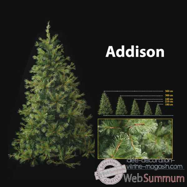 Sapin de Noel 240 cm Professionnel Addison Hard Needle Pine Tree 900 lumieres Vert