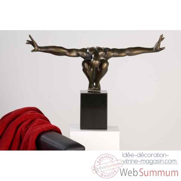 "Sculpture ""cliffhanger\"" finition bronze Casablanca Design -32753"