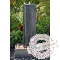 Fontaine harmonia en pierre granit finition polie et striee, de coloris gris Climadream