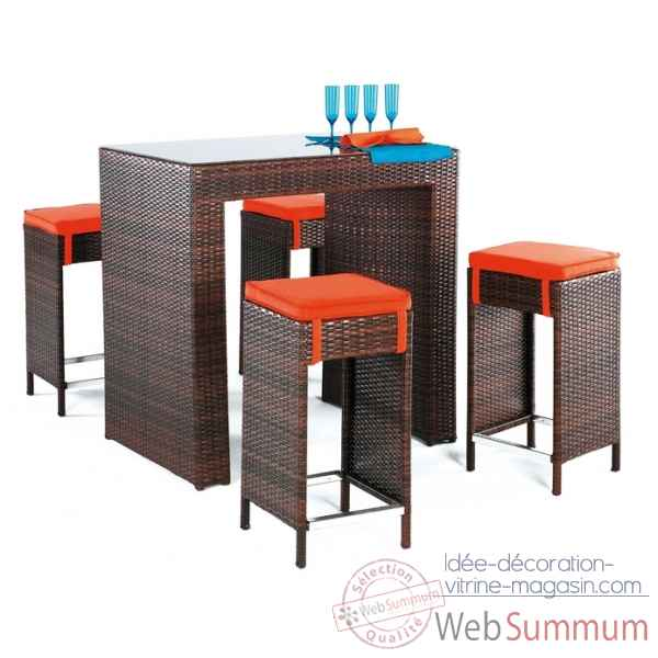 Ensemble table bar delphin et 4 tabourets coussin raye marron Exklusive hevea -10134-8430424