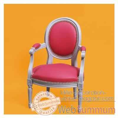 fauteuil louis xvi m daillon cuir framboise 013 dans fauteuil enfant personnalis. Black Bedroom Furniture Sets. Home Design Ideas
