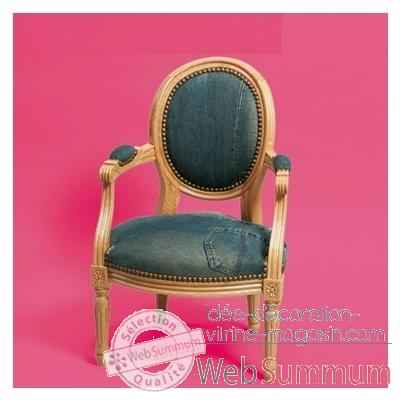 Fauteuil Louis XVI medaillon en jean veritable Louis 21_001