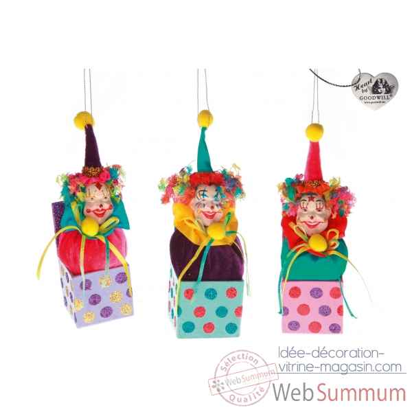 Decoration de noel clown lot de 3 20cm -B 31497
