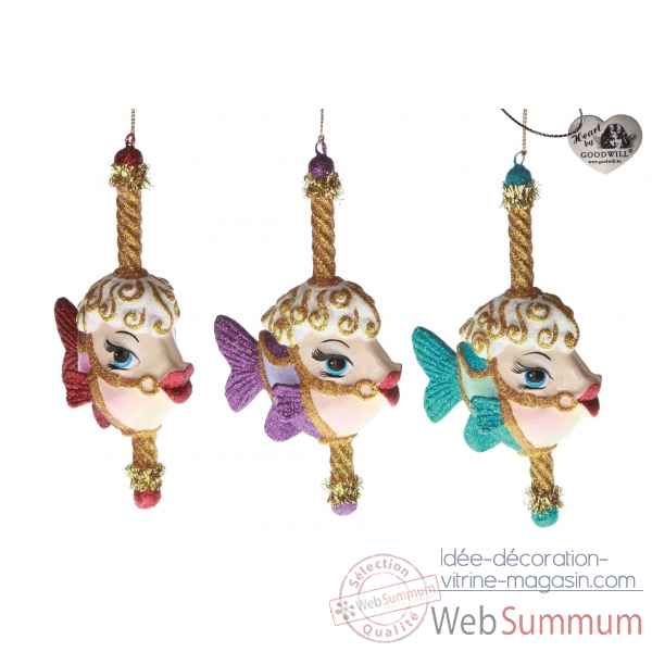 Decoration noel caroussel poisson lot de 3 18cm -B 31526