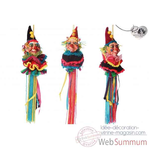 Decoration noel clown lot de 3 28cm -C 10357
