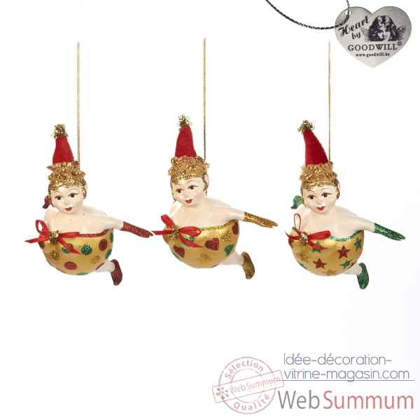 Decoration noel dame lot de 3 12cm -B 30076