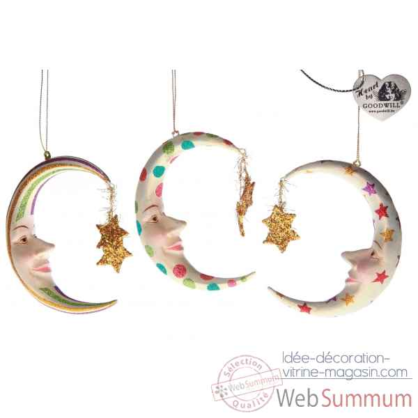 Decoration noel lune lot de 3 14cm -B 31513