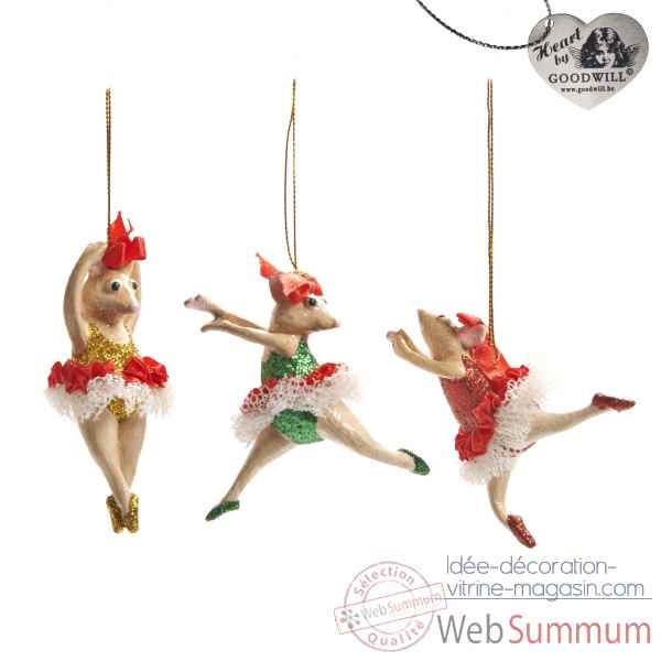 Decoration noel souris lot de 3 4cm -B 30064