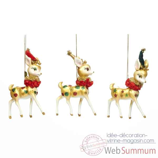 Lot de 3 bambi decoration de noel 9,5cm -B 30091