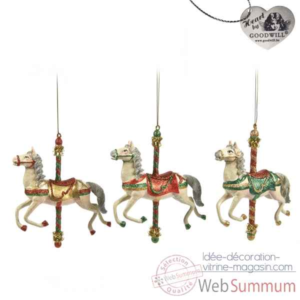 Lot de 3 caroussel cheval 16cm -B 30085