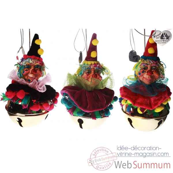 Lot de 3 clochette clown 14cm -C 10383