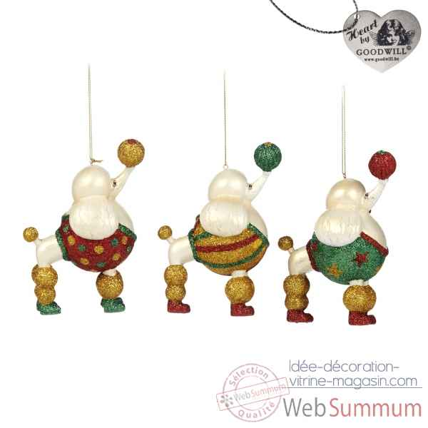 Lot de 3 decoration noel caniche 12cm -C 12107