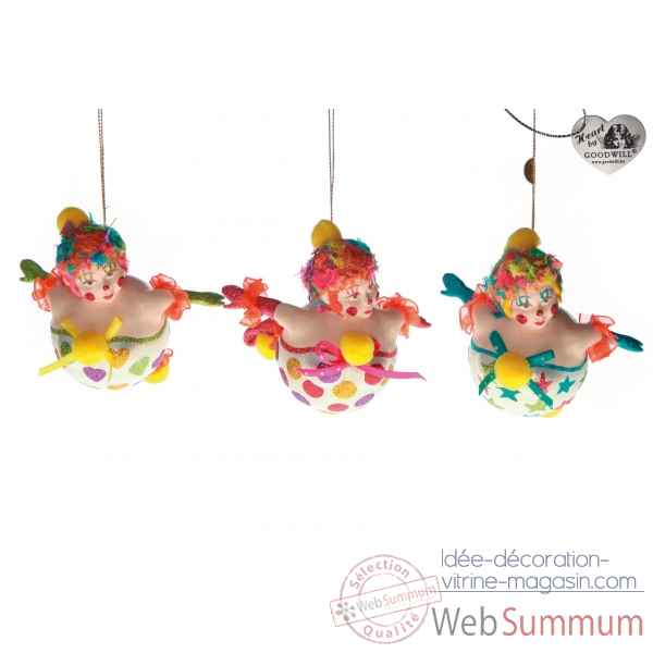 Lot de 3 decoration noel cirque 14cm -B 31501