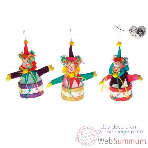 Lot de 3 decoration noel clown 17cm -B 31495