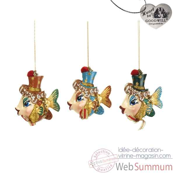 Lot de 3 decoration noel poisson 10cm -B 30054