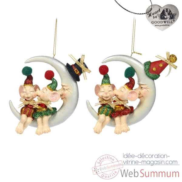 Lot de 2 decoration noel souris sur la lune 9cm -C 12103