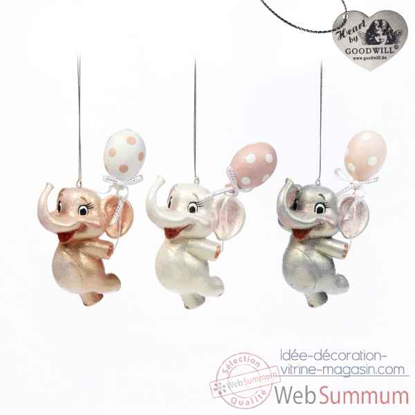 Lot de 3 elephants decoratifs 14cm -B 30440