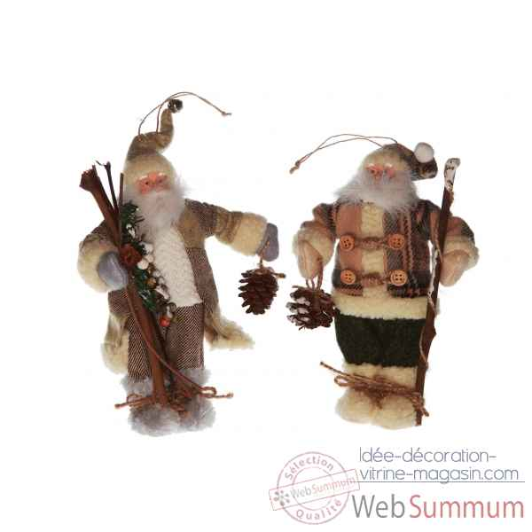 Pere noel decoration noel lot de 2 21,5cm -AL 25184