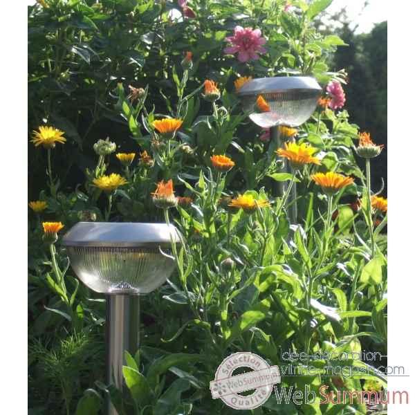 Lot de 2 lanternes en inox nergie solaire pour balisage for Lampe solaire pour jardin et terrasse