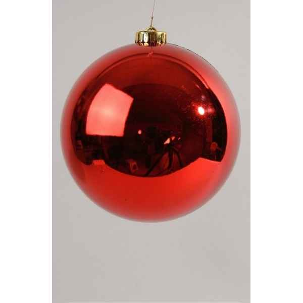 Boule plastique uni brillant rouge noel 200 mm Kaemingk -22417