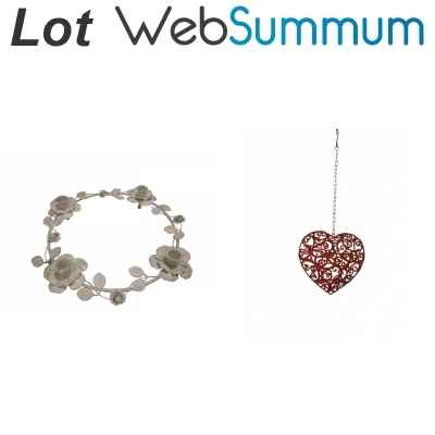 Lot 2 decorations coeur et roses en metal -LWS-496