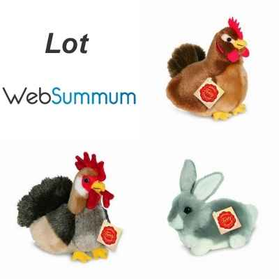 Lot 3 peluches Hermann Poule, Coq et Lapin -LWS-508